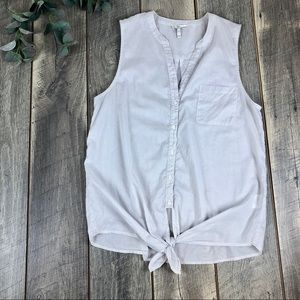 Joie Gray Striped Button Down Tank Top Size M